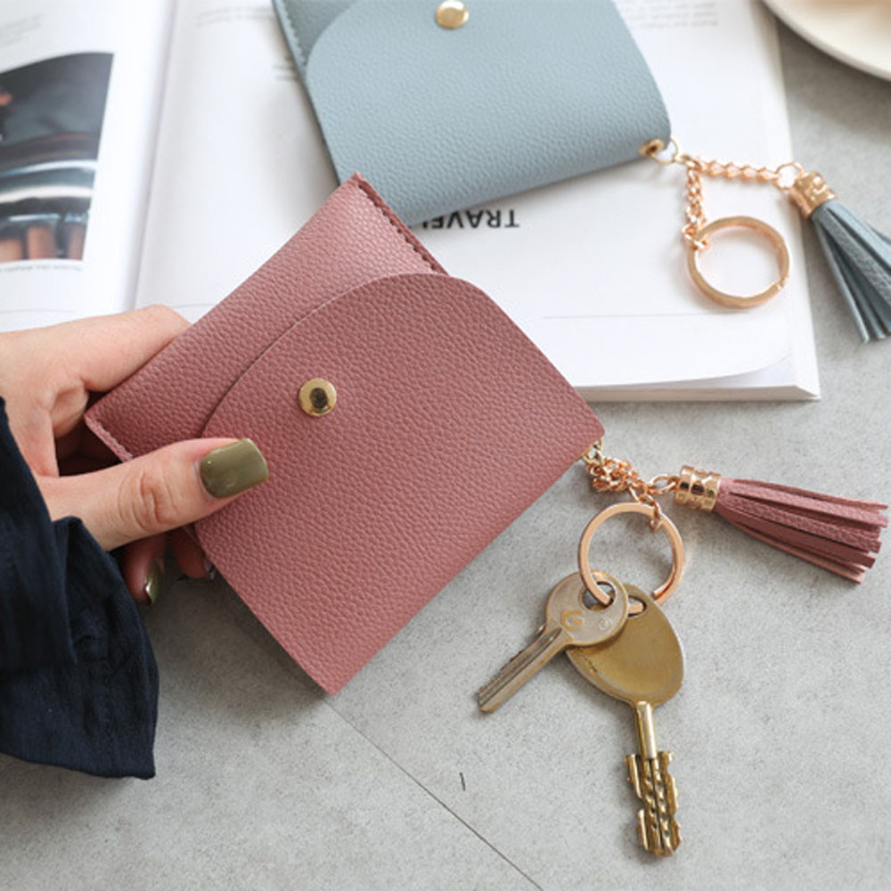 Women Simple Tassel Short Wallet Coin Purse Card Holders Handbag Credit Card ID Holder With RFID Anti-chief Wallet fermasoldi#75