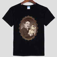 2017 Direct Selling Real O-neck Casual Physics Diy Nikola_tesla Men's Short Sleeve T-shirt Pure Cotton Round Collar Pikachu
