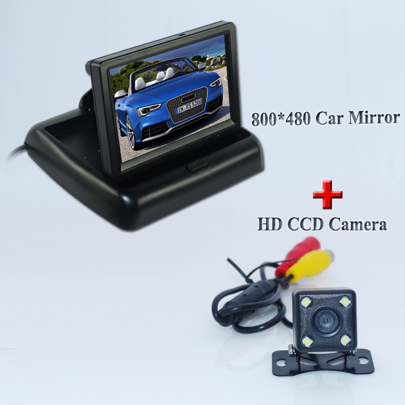 Factory Promotion Car Parking Assistance 4.3 Inch TFT LCD Car Reverse Rearview <font><b>Monitor</b></font> + 4 LED Lights Car Rear View Camera