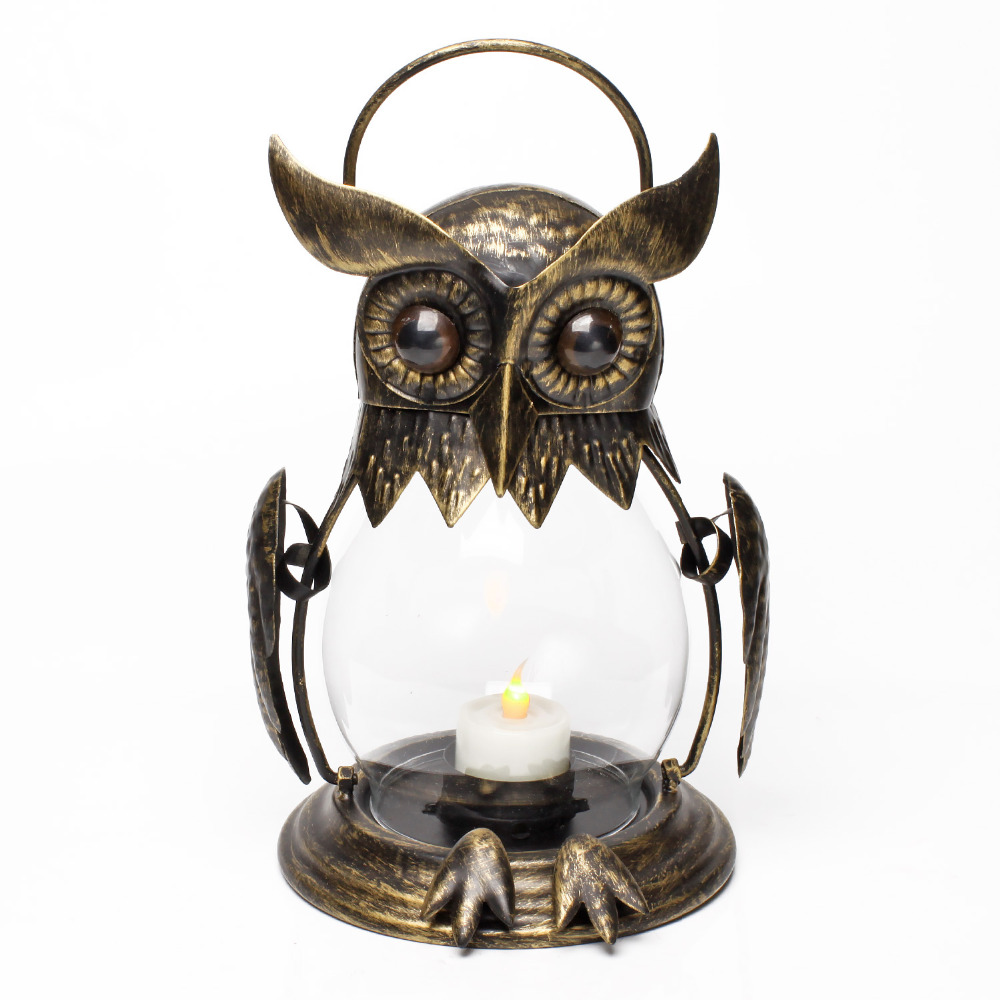 Owl Tealight Holder Hurricane Candleholders, Hanging Lantern for Outdoor & Indoor Party Decor, Wedding Gift, Gold-in Candle Holders from Home & Garden ...