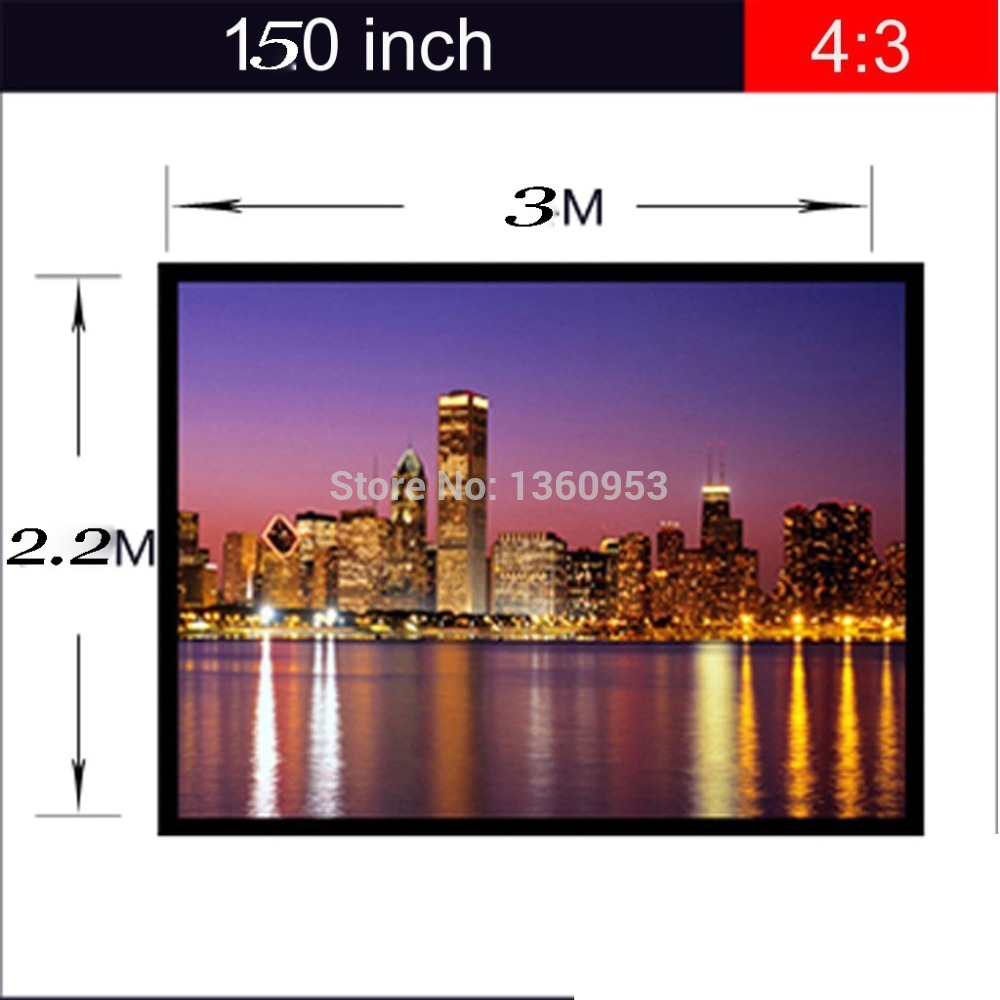 4:3 150 inch Screen for DLP Projector Screen with Grommets Finished Edge White Curtain Simple Portable Film Projection Screen authentic 72 inch 4 3 stents curtain projector screen projector screen projection screen projection screen