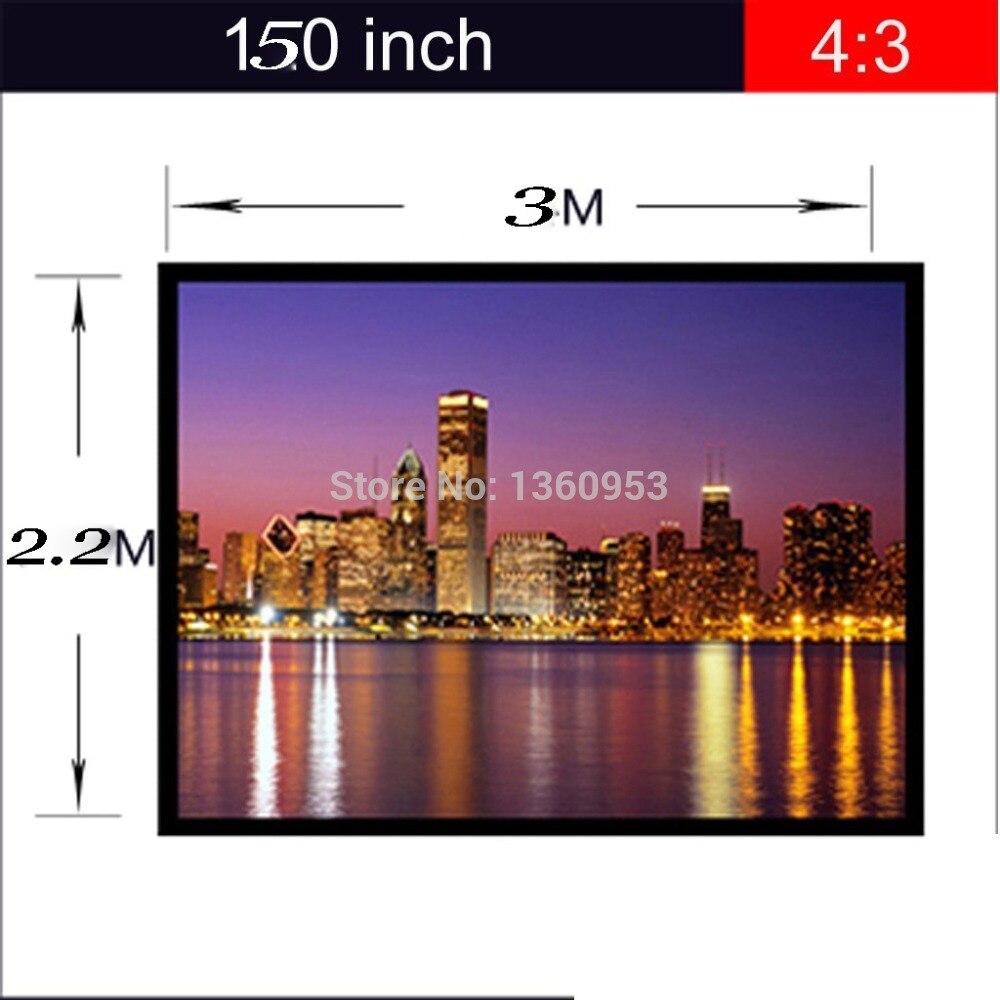 4:3 150 pouce Écran pour DLP Projecteur Écran avec Œillets Fini Bord Blanc Rideau Simple Portable Film Écran De Projection
