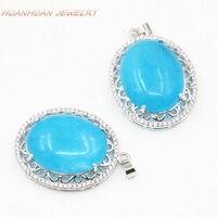 Fashion Collar Necklace Pendant Luxury Zircon Inlay Natural Blue Stone Jades Chalcedony Choker Pendants Jewelry 25x33mm B3313