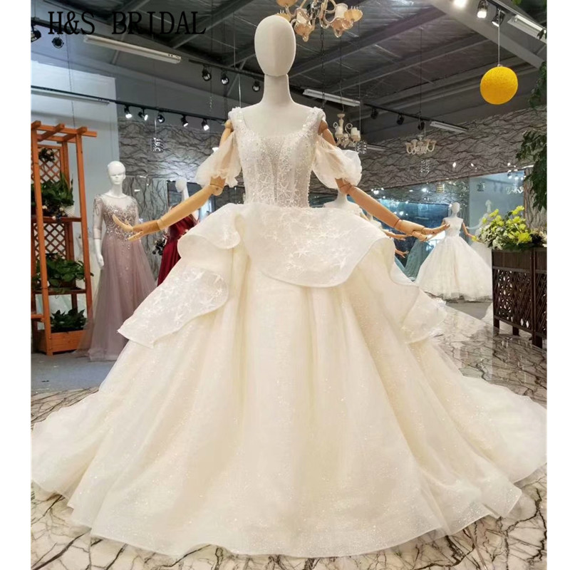 H&S BRIDAL Short Sleeve wedding dresses Ball Gown Shining bride dress Wedding Gown robe de mariee 2019