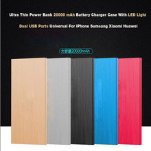 20000 mAh Power Bank Mobile Battery Charger Double USB Ports With LED light For iPhone 5s 6/ Samsung/XIAOMI/Huawei/HTC/LG/Tablet