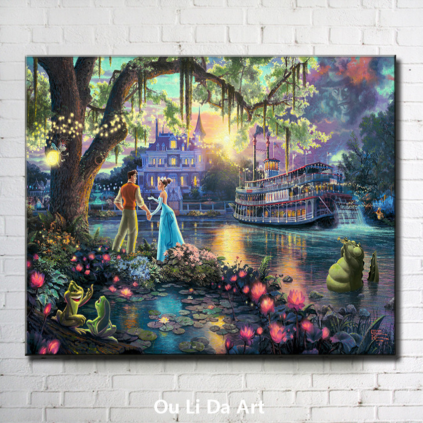 Thomas cartoon prince princess light ship landscape canvas printings oil painting printed on canvas wall art decoration pictures