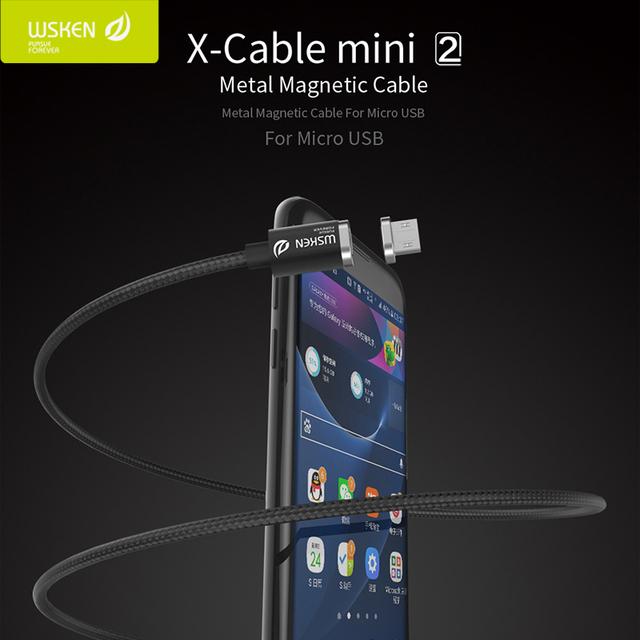 Original wsken x-cabo mini 2 de metal usb magnético cabo de carregamento rápido para iphone samsung xiaomi sony lg huawei meizu asus + presente