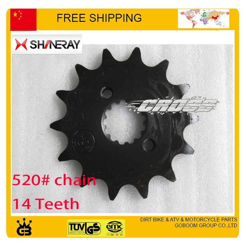 motorcycle dirt pit bike 520 chain Front chain sprocket 14teeth 250cc  shineray X2 X2X accessories free shipping