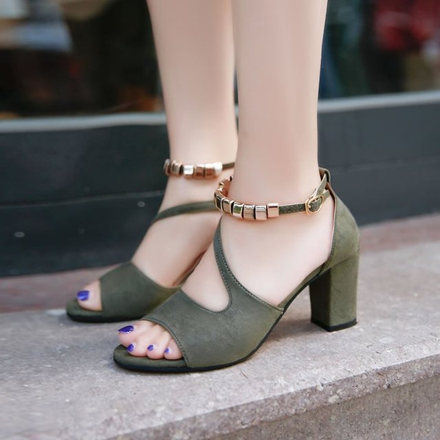 2019 spring summer sexy fish mouth hollow Roman sandals thick with word with metal beaded high heels female sandals E538 1