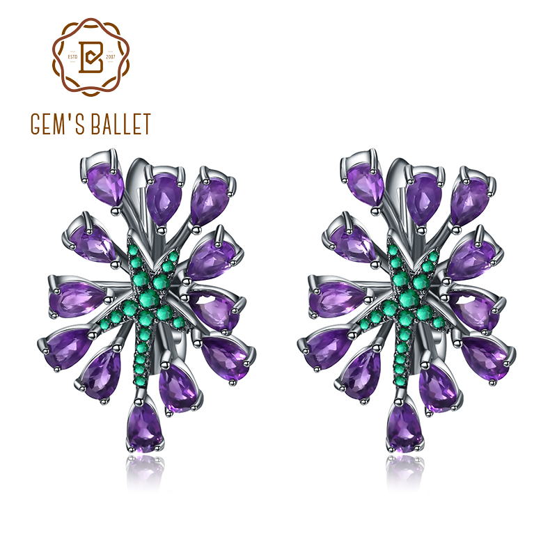 GEM'S BALLET 4.69Ct Natural Amethyst Gemstone Clip Earrings 925 Sterling Sliver Vintage Gothic Punk Earrings For Women Party