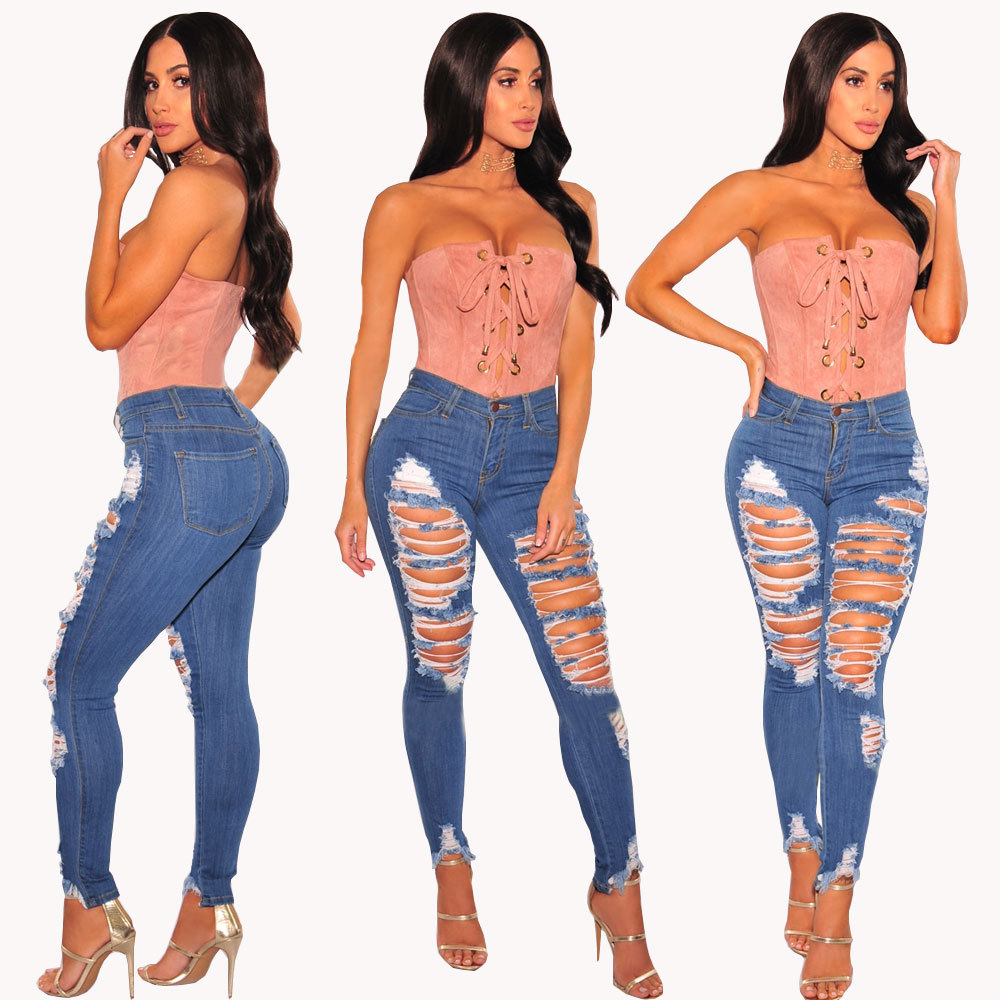 2019 Summer Spring Fashion Jeans For Woman Elastic High Waist Ripped Hole Skinny Ankle Length Pencil Pants Plus Size