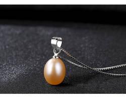 S925 ожерелье стерлингового серебра дыни повесить пряжки липким естественный пресноводный жемчужное ожерелье женский C09