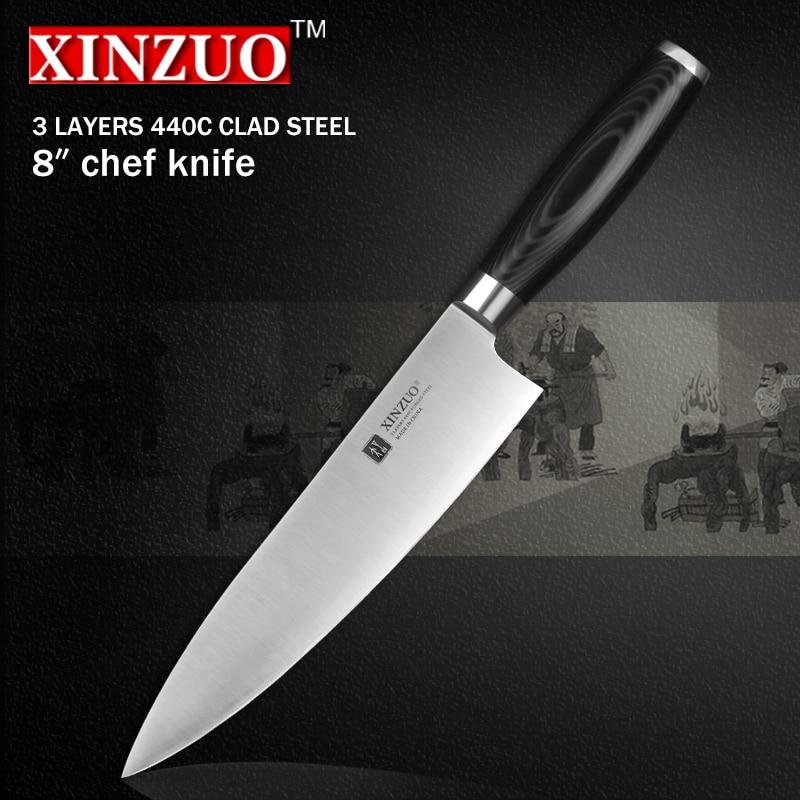 XINZUO 8 inch chef font b knife b font three layers 440C clad steel kitchen font
