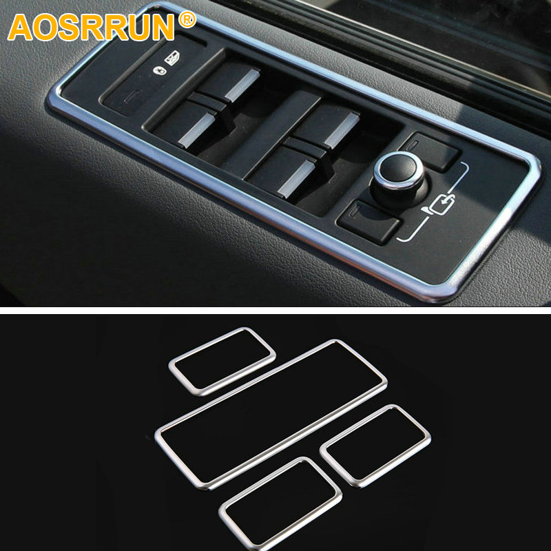 AOSRRUN Chrome Window Lift Button Panel Trim For Land Rover Range Rover Sport 2014 2015 2016 L494 Auto Car Accessories carbon fiber style abs plastic for land rover range rover evoque 12 17 center console gear panel decorative cover trim newest
