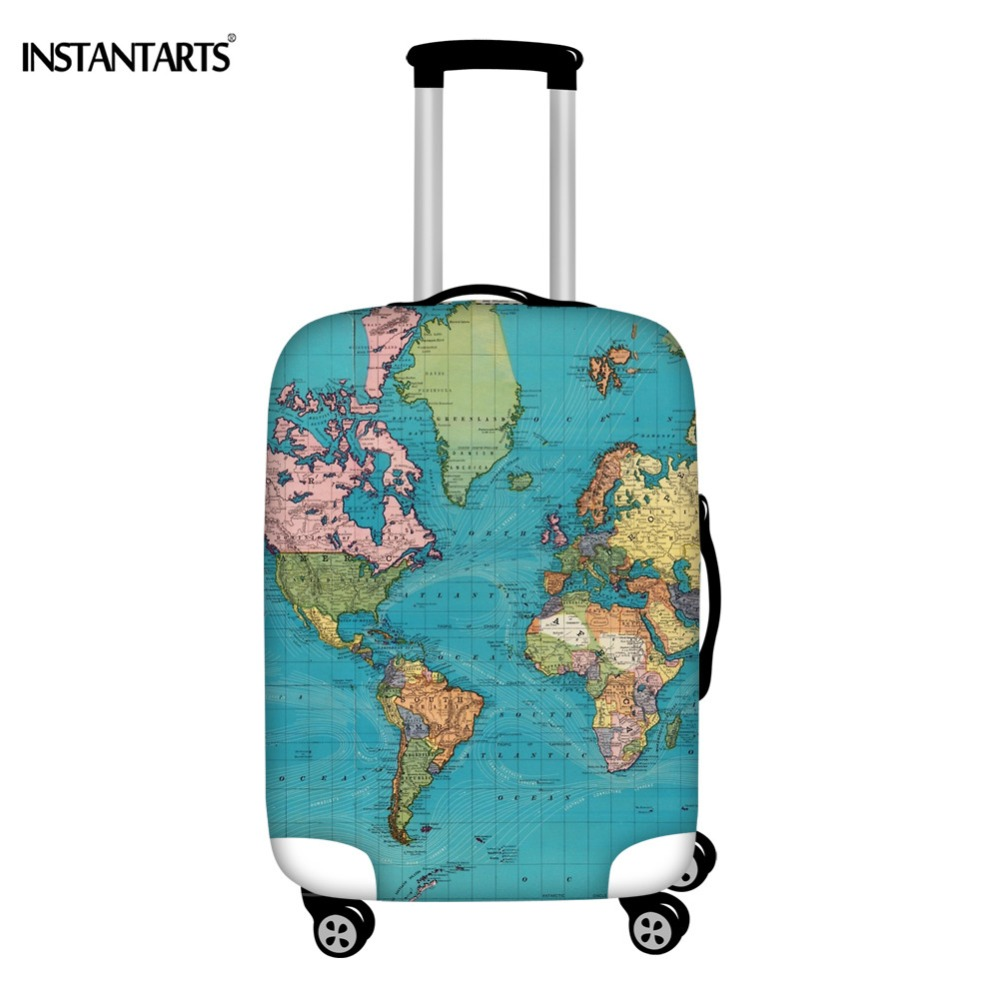 INSTANTARTS Vintage Map Of The World Design Trolley Suitcase Protector Covers Elastic Waterproof Zipper Luggage Cover 18-30 Inch