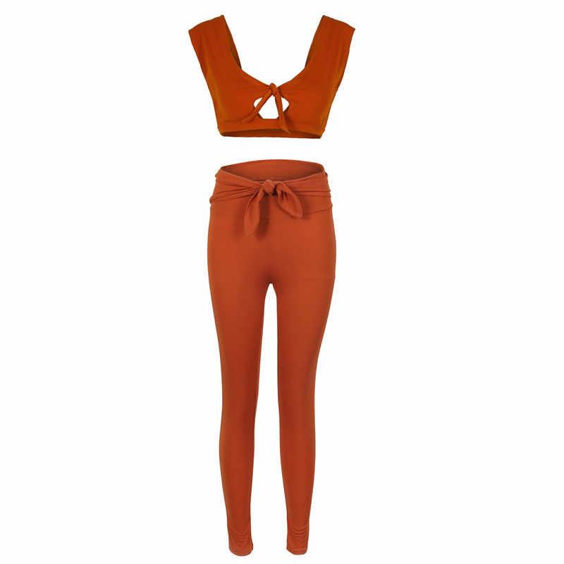Phụ nữ 2 Bộ Trang Phục cho Dạo Phố Gợi Cảm Gắn Chặt Thiết Kế Màu Trơn Crop Tops Ngắn + Cao Cấp Băng Bút Chì quần