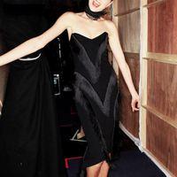 2018 Sexy Celebrity Cocktail Party Dresses Women Black Strapless Vestidos Tassel Knee Length Back Zipper Bodycon Dress Xnxee