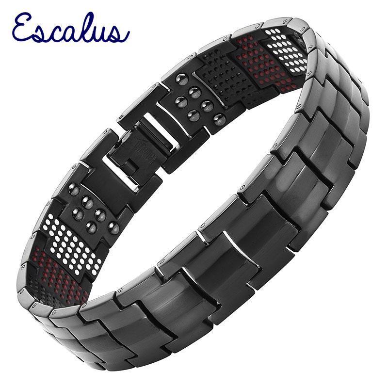 Escalus Mäns Svart Pure Titan Magnetic Armband För Män 4in1 Magneter Negativa Ioner Germanium Hälsa Armband Smycken