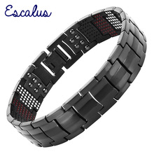 Escalus Mens Black Pure Titanium Magnetic Bracelet For Men 4in1 Magnets Negative Ions Germanium Health Bracelets jewelry