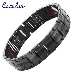 Image 1 - Escalus Mens Black Pure Titanium Magnetic Bracelet For Men 4in1 Magnets Negative Ions Germanium Health Bracelets jewelry