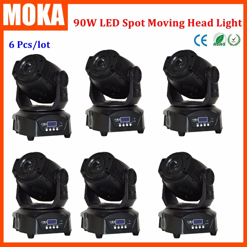 6PCS/LOT Stage Lighting 90W Led Spot Moving Head Lights LCD Gobo Lights Projector