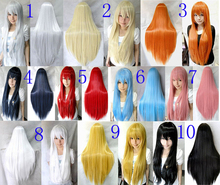 2016 New Fashion Styled 80cm Long Straight Party Synthetic Hair Cosplay Costume Wig 10 color