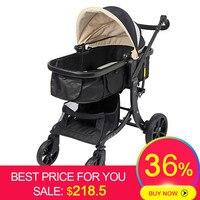 Детская коляска 2 в 1 коляска Лежащая или увлажняющая Складная Лампа Вес двухсторонний ребенок четыре сезона высокий пейзаж модный стиль