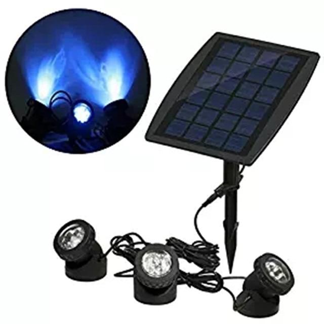 3head Blue Solar Garden Lawn Pool Waterproof Underwater LED Spotlight Outdoor  Decor Lighting For Tree Rockery