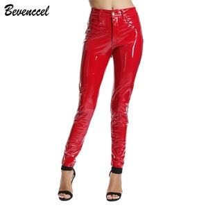 Image 4 - BEVENCCEL חורף מכנסיים עור מפוצל מכנסיים נשים סקסי לטקס מכנסיים נשים Streetwear עם כותנה נשים מכנסיים