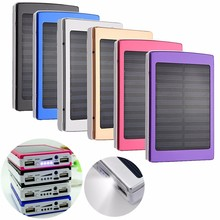 Waterproof 8000 mAh Solar Charger Dual USB 5v Mobile Phone Battery Charger External Battery Outdoor LED Light Lamp +USB Cable