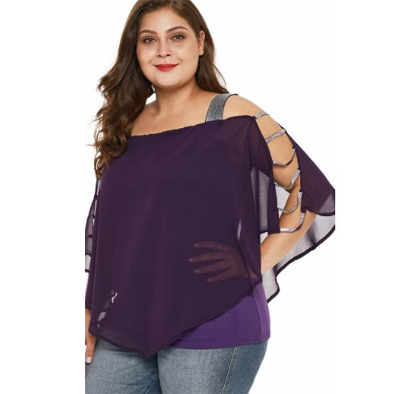 Womens Large Size Chiffon Blouse Batwing Sleeve Tops Solid Pullover Hollow Out Bat Sleeve Shirt XL 5XL For Ladies Summer 2019 in Blouses amp Shirts from Women 39 s Clothing