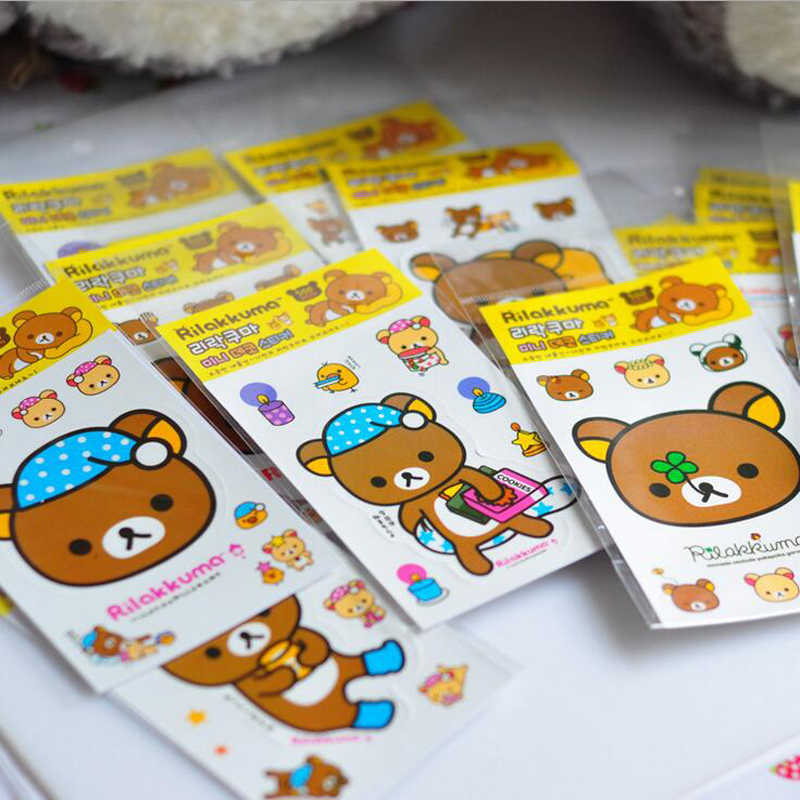 5 Sheets Kawaii Rilakkuma Cartoon Decorative Sticker Dairy Album Phone Computer DIY Stick Label Kids Gift