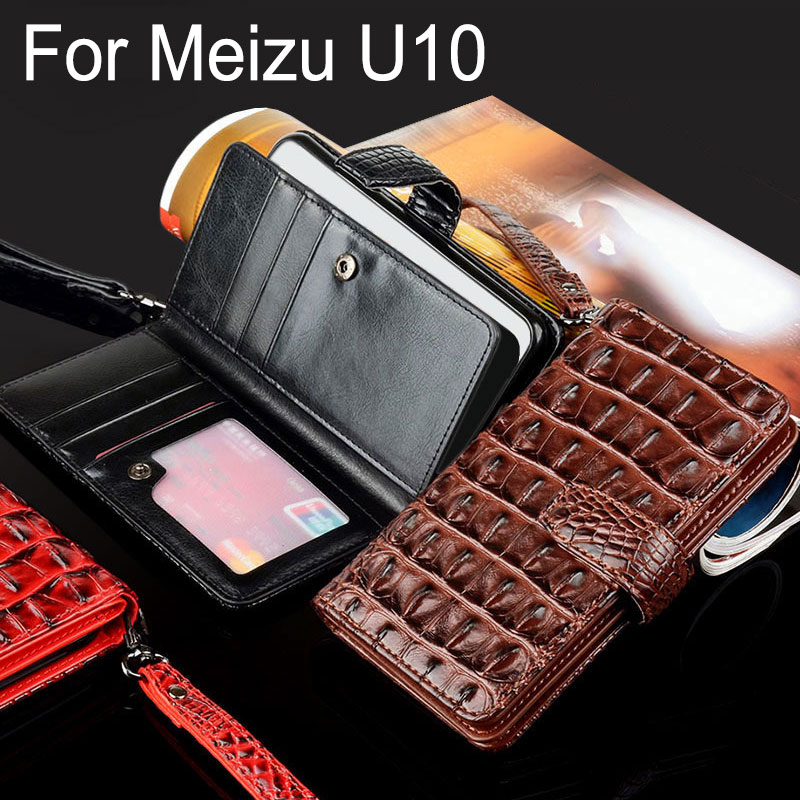 for meizu U10 case Luxury Crocodile Snake Leather Flip Business style Wallet phone Cases for meizu U10 cover funda capa(China)