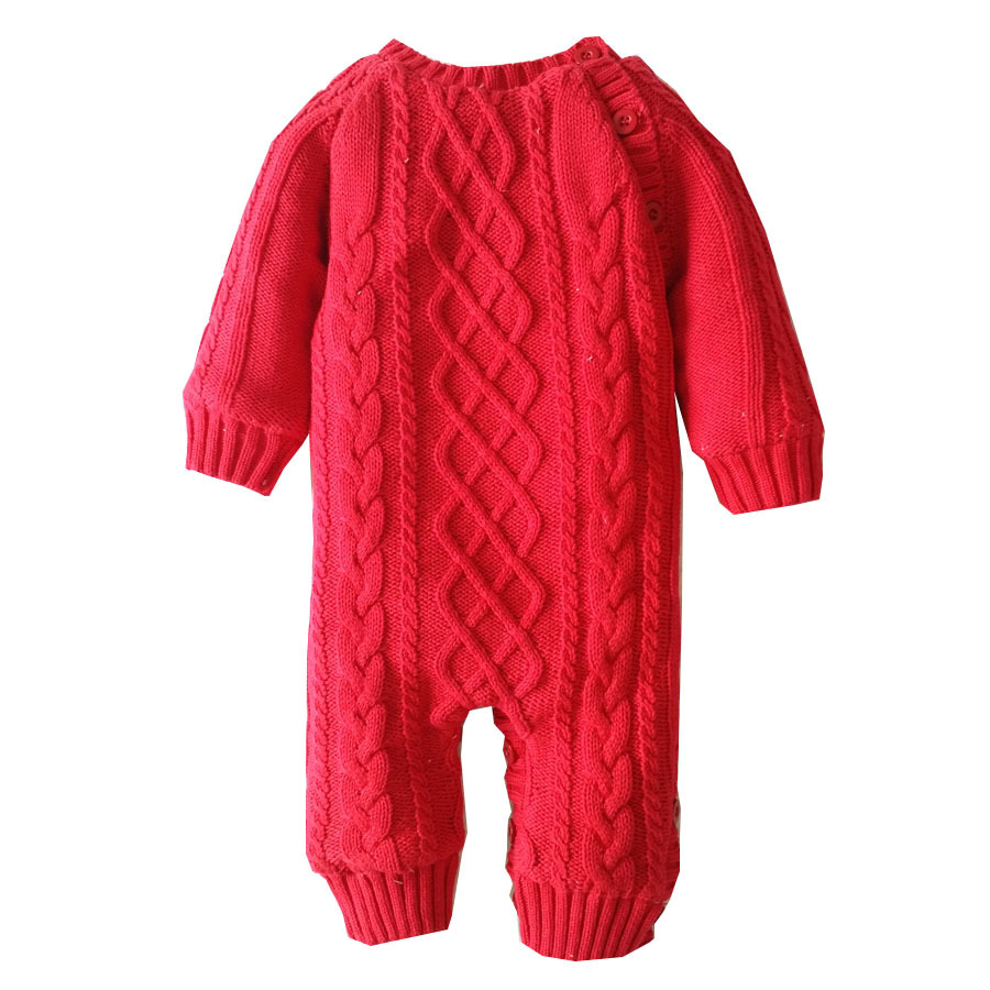 Mioigee Winter Thick Climbing Clothes Newborn Boys Girls Warm Romper Knitted Sweater collar coat Baby Rompers for baby baby clothes winter thick warm rompers newborn clothes coral velvet jumpsuits toddler boys girls costumes for kids
