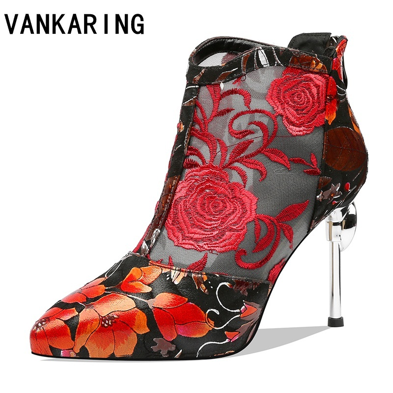 brand embroider boots new female spring summer ankle boots for women high heels retro women shoes autumn women high boots flower