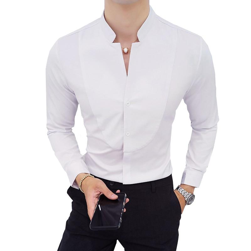 2020 autumn White Men Shirt Long Sleeve Slim Design Shirt Men Large size 5xl Stand Collar mens shirts
