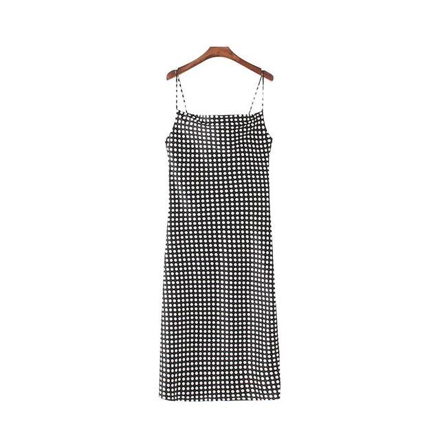 Women Dot Print Midi Dress...