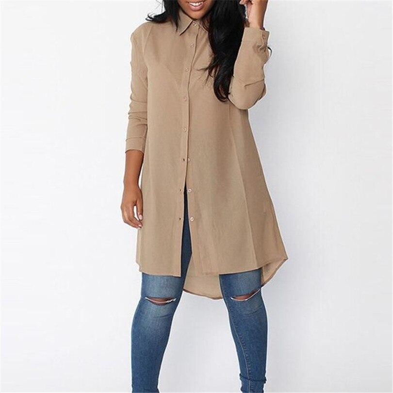 399efc5adb1 Spring Autumn Midi Long Blouse Women Irregular Chiffon Blouses Female Long  Sleeve Shirt Office Casual Shirts
