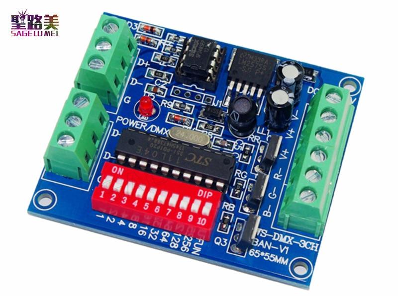 Δωρεάν αποστολή DC5V-24V 3CH 3 κανάλια DMX512 LED αποκωδικοποιητής, RGB ελεγκτής, Dimmer, Drive