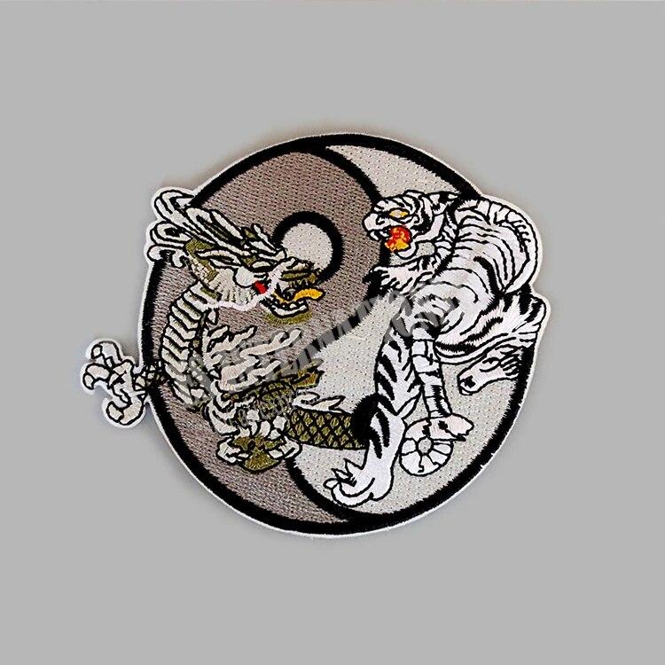 Dragon /& Tiger Hook Backing Yin Yang Patch Dragon Patches