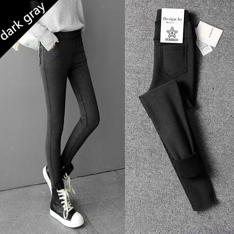 WKOUD Plus Size Women's Winter Warm Leggings Korean Skinny Pencil Pants Snow Black Fleeces Thicken Full Length Trousers P8617