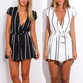 New Arrival Women's Summer Sexy Striped Deep V-Neck Short Sleeve Jumpsuit Romper with Belt