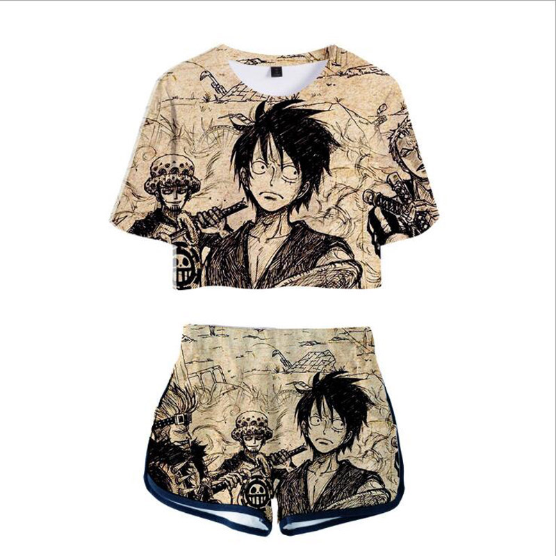 Japan Anime One Piece Luffy 3D Print Two Piece Set Women Suits Crop Top+Shorts Summer Outfits Women's Tracksuits Tumblr Clothing