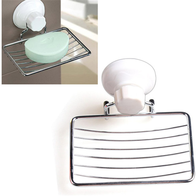 New Strong Suction Bathroom Shower Accessory Soap Dish Holder Cup Tray Dishes Porte Savon