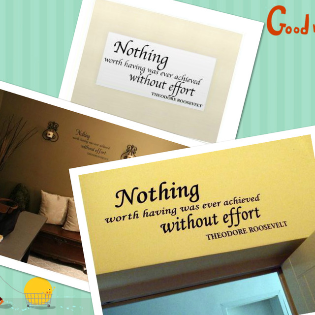 & Nothing Worth Having Was Ever Quotes Wall Stickers Decal Kids Room Bedroom Home Decoration Vinyl 3D Picture Wallpaper Poster image
