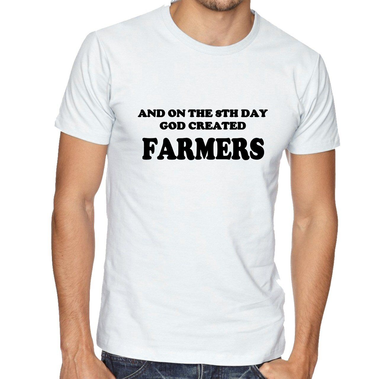 NEW ON THE 8TH DAY GOD CREATED FARMERS FUNNY NOVELTY TSHIRT AGE MenS T-Shirts Summer Style Fashion Swag Men T Shirts
