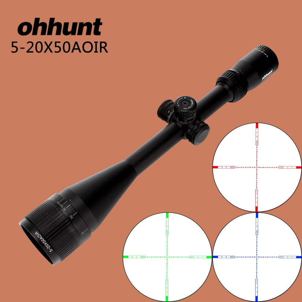 ohhunt 5-телескоп 20 x 50 AOIR охотничьи прицелы половиной мил-дот RGB Подсветка прицельной Парусность замок с высоты сбросить прицелы оптика