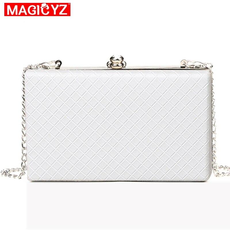 MAGICYZ  2018 White Ladies Frame Bag Black Women Leather Clutches Purse Gold Silver Black Diamond Lattice Handbag On Chain