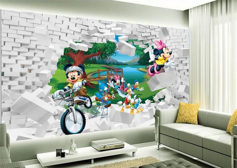 Perfect 3d Room Wallpaper Custom Mural Non Woven Wall Sticker Mickey Mouse Cartoon  Painting Photo 3d Nice Ideas
