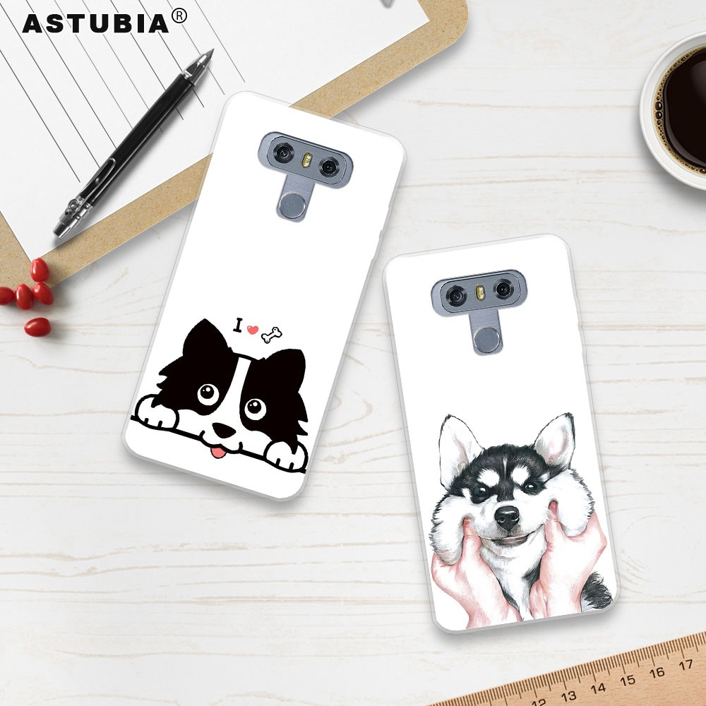 ASTUBIA Cute Dog Case For LG G6 Case Silicone Hat BullDog Case For LG V30 Phone Cover For LG Q6 Case For LG K4 K8 K10 2017 Cover
